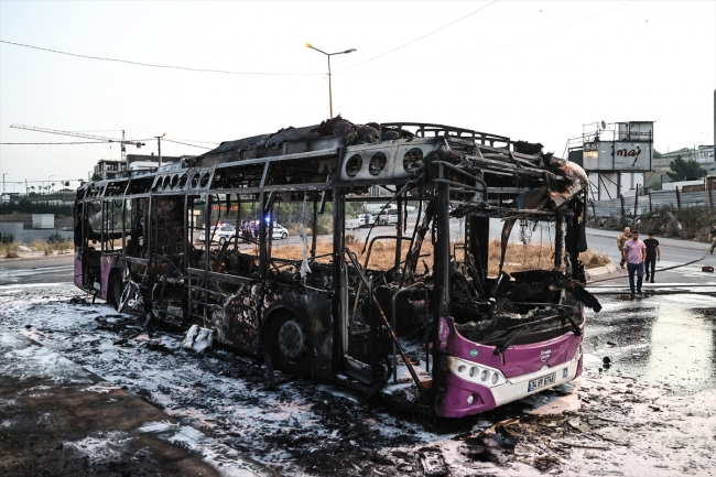 Public bus caught fire