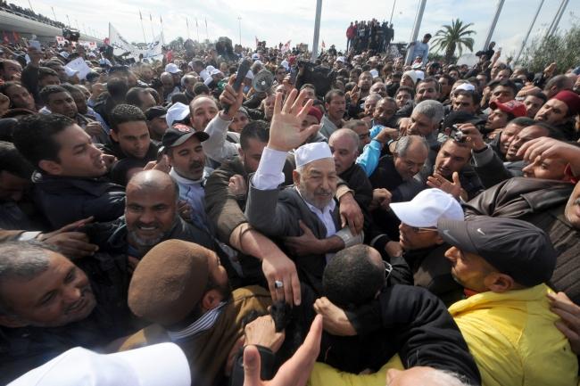 2011'de ülkesine dönen Raşid el-Gannuşi binlerce Tunuslu tarafından karşılandı. Fotoğraf: AFP