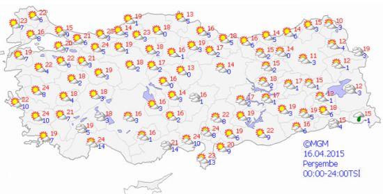 16 nisan 2015 yurt genelinde hava tahminleri ise şöyle