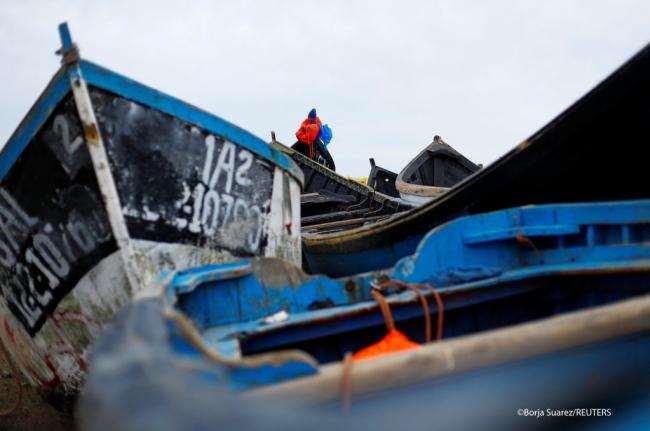 Göçmenlerin Batı Afrika'dan Kanarya Adaları'na Atlantik'i geçmek için kullandıkları tekneler. Fotoğraf: Reuters