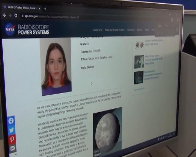 Türk lise öğrencisinin makalesi NASA'nın web sitesinde yayınlandı