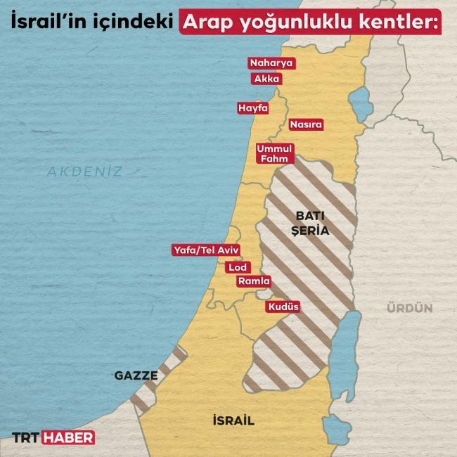 İsrail'in içindeki Arap kökenli vatandaşlar nüfusun yaklaşık yüzde 24'ünü teşkil ediyor. Harita: TRT Haber - Hafize Yurt