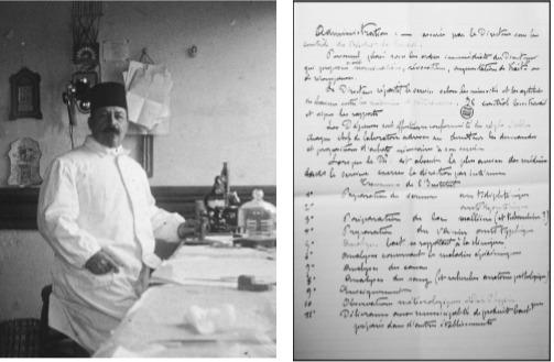 Dr. P.-L. Simond Bakteriyolojihane'deki laboratuvarında çalışırken  ve elyazısı ile Bakteriyolojihane-i Osmani'nin görevleri