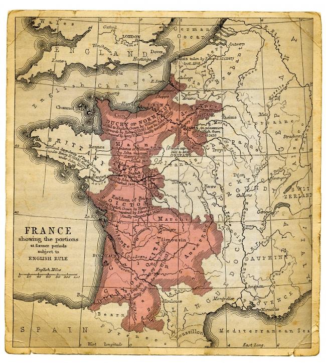 15. yüzyılda Fransa'nın eski haritası, Yüzyıl Savaşları sırasında İngilizlerin kontrolü altındaki topraklar... Fotoğraf: Getty
