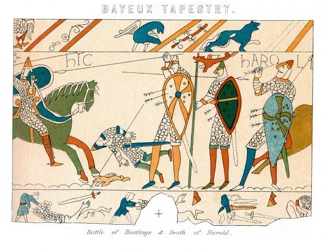 Hastings Savaşı'nda Kral Harold'ın ölümünün bir detayını gösteren gravür. Fotoğraf: Getty