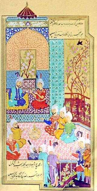 (Ali Şîr Nevâî'nin tek nüshası Leningrad Saltıkov-Çedrin Kütüphanesi'nde (nr. 546) bulunan divanından bir sayfa)   Fotoğraf: İslam Ansiklopedisi