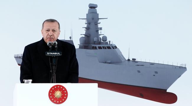 Cumhurbaşkanı Erdoğan, TCG Ufuk'un suya indiriliş töreninde gemiyle ilgili önemli detaylar paylaşmıştı. Foto: AA