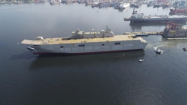 Türkiye'nin en büyük savaş gemisi olacak Çok Maksatlı Amfibi Hücum Gemisi TCG Anadolu. Foto: AA