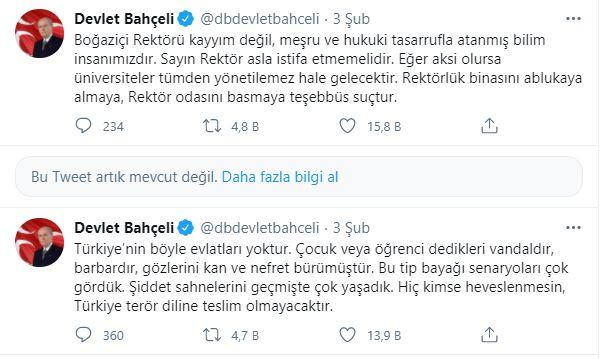 Twitter'dan MHP Genel Başkanı Bahçeli'nin Boğaziçi Üniversitesi paylaşımlarına kısıtlama ile ilgili görsel sonucu