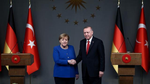 Cumhurbaşkanı Recep Tayyip Erdoğan ile Almanya Şansölyesi Angela Merkel. Fotoğraf: AA