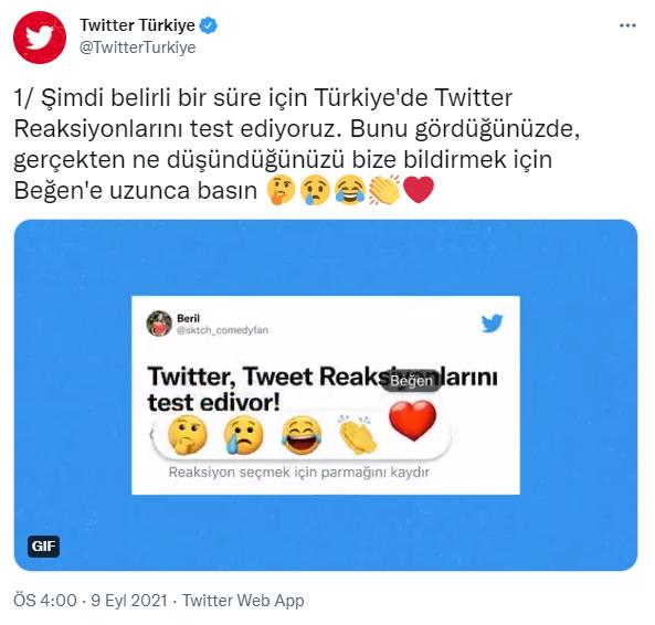 Twitter'da emojilerle tepki verme özelliği ilk olarak Türkiye'de test edilecek