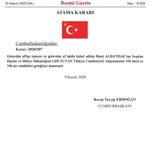 Fotoğraf: Resmi Gazete (Cumhurbaşkanı Recep Tayyip Erdoğan'ın imzasıyla Lütfi Elvan'ın atama kararı)
